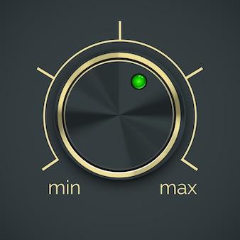 Vector ronde metalen controller met groene knop geïsoleerd op zwarte achtergrond.
