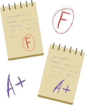 Vector rood scoreteken dat op witte achtergrond wordt geïsoleerd. eps 10. evaluatie van f flat. examenkladblok en resultaat clipart