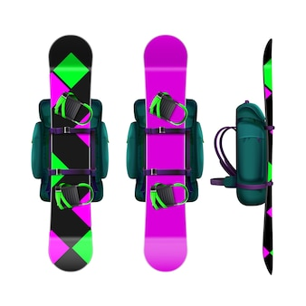 Vector rugzakken met roze, magenta, groen, zwart snowboards voorkant, zijaanzicht geïsoleerd op een witte achtergrond