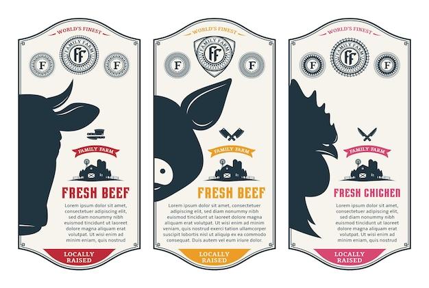 Vector rundvlees varkensvlees en kip moderne stijl labels