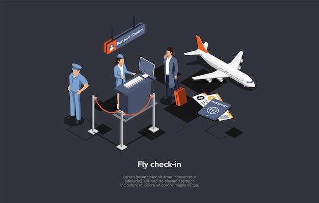 Vector samenstelling. isometrisch ontwerp, cartoon 3d-stijl. vlieg inchecken. luchthaven binnen elementen en karakters. bemanningspersoneel, klant met bagage, persoonlijke documenten, vliegtuig, paspoortcontrolegebied.