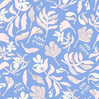 Vector scandinavische eenvoudige bloem illustratie motief naadloze herhaling patroon grafische resource