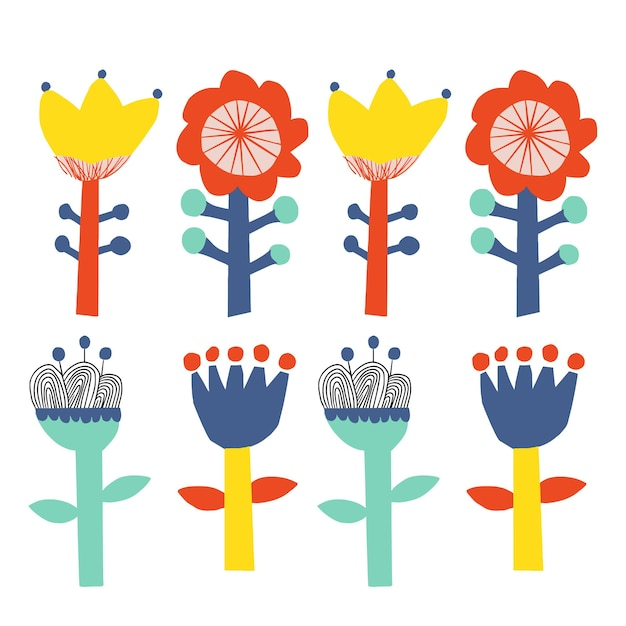 Vector scandinavische schattige bloem illustratie set grafische resource