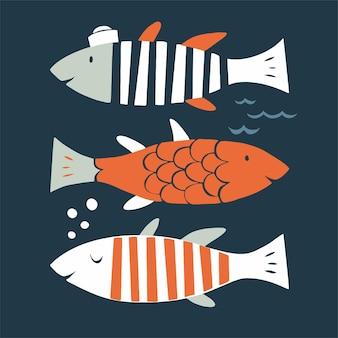 Vector scandinavische vis tekens pictogram illustratie grafische resource