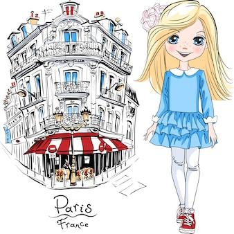 Vector schattig blond meisje in blauwe jurk en sneakers in parijs, frankrijk