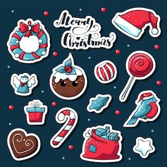 Vector schattig doodle kerst stickers met merry christmas belettering.
