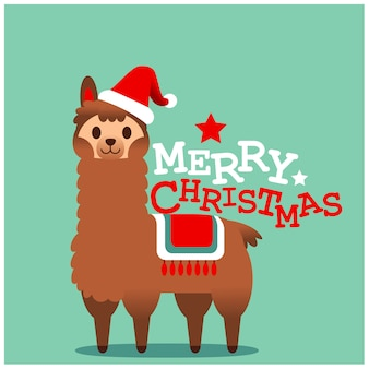Vector schattig lama, alpaca karakter, merry christmas card