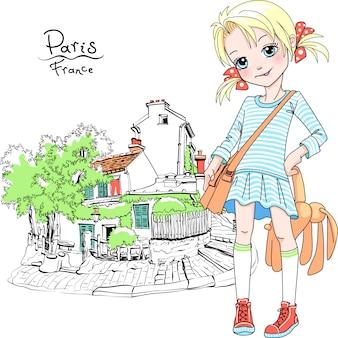 Vector schattig meisje in jurk en sneakers met tas en zacht stuk speelgoed konijn op straat van parijs, frankrijk