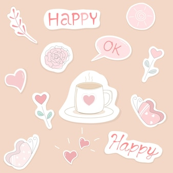 Vector schattig spraakelement gelukkig ok hart koffiekopje bloem vlinder roze kleur