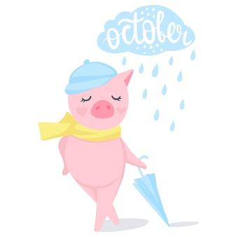 Vector schattig varken. mode dieren. varkens illustratie geïsoleerd op wit. symbool van 2019 op de chinese kalender. grappig karakter.