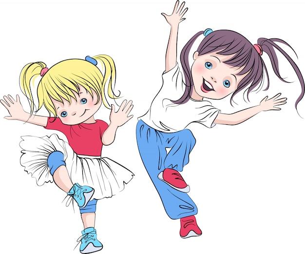 Vector schattige en babymeisjes die glimlachen dansen