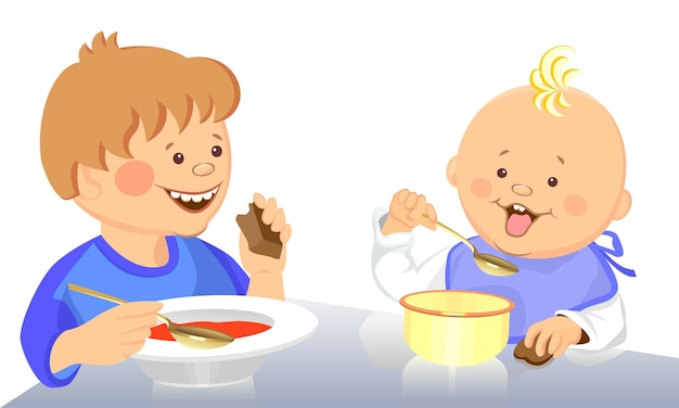 Vector schattige kinderen eten