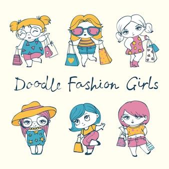 Vector schattige mode meisjes met stijlvolle tassen in doodle stijl