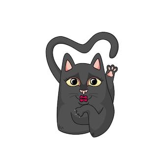Vector schattige zwarte kat blaast een kus. kat flirt en de staart heeft de vorm van een hart.