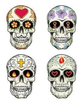 Vector schedels met bloemen voor dag van de doden