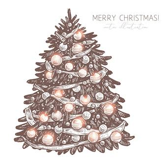 Vector schets kerstboom met decoraties en garland. vrolijke kerstmis en gelukkig nieuwjaar gegraveerde etsillustratie. hand getekend feestelijke vakantie symbool