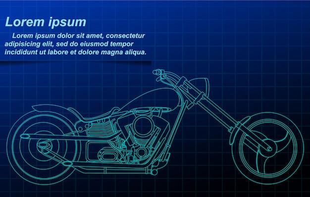 Vector schets motorfiets blauwdruk.