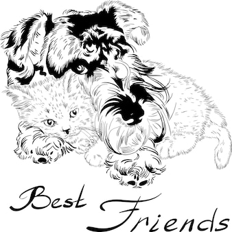 Vector schets schattige hond met kat hand tekenen vector