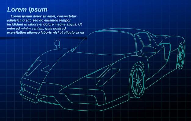 Vector schets schets voertuig op blauwdruk.