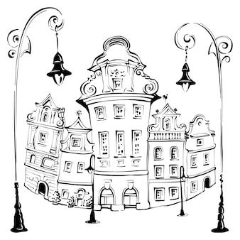 Vector schets van gezellige huizen op het oude marktplein in poznan, poland