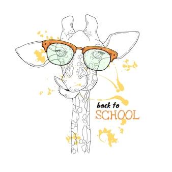 Vector schetsen illustraties. portret van een grappige giraf in aangepaste glazen.