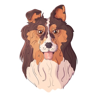 Vector schetsen illustraties. portret van een schattige collie.