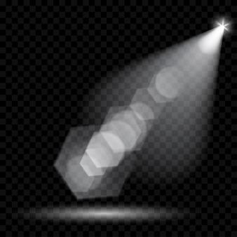 Vector schijnwerpers. verlichting van de scène. transparante lichteffecten. transparantie alleen in vectorformaat