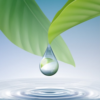 Vector schone glanzende blauwe druppel met cirkels op water en groene bladeren close-up vooraanzicht