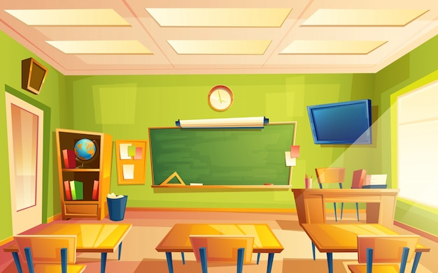 Vector school klas interieur