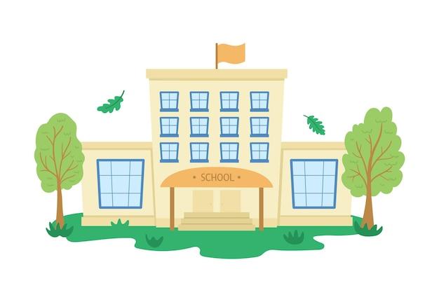 Vector schoolgebouw met bomen terug naar school vlakke afbeelding
