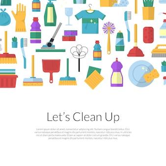 Vector schoonmaken platte achtergrond illustratie met tekstsjabloon