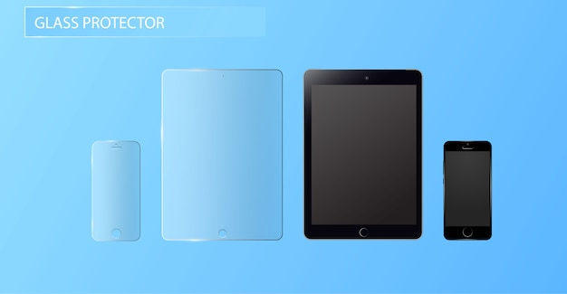 Vector screen protector film of glazen kap. screen protect glass.