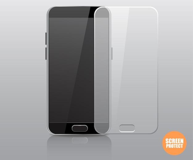Vector screen protector film of glazen kap.