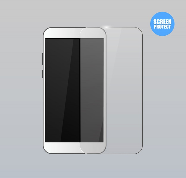 Vector screen protector film of glazen kap