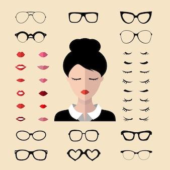 Vector set aankleden constructor met verschillende vrouw wimpers, bril, lippen. maker van vrouwelijk gezicht