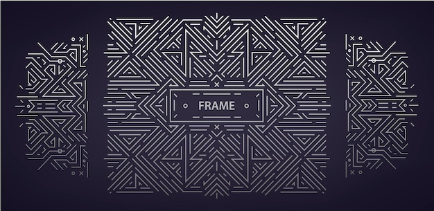 Vector set abstracte art deco frames. lineaire moderne stijl, monogram geometrische banners, luxe verpakkingsontwerp, poster, uitnodiging, dekking, achtergrond