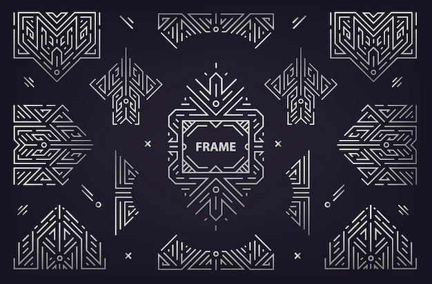Vector set abstracte geometrische ontwerpelementen, luxe vintage artdeco decoraties, scheidingslijnen. frame in lineaire stijl. monogram geometrische banners, luxe verpakkingsontwerp