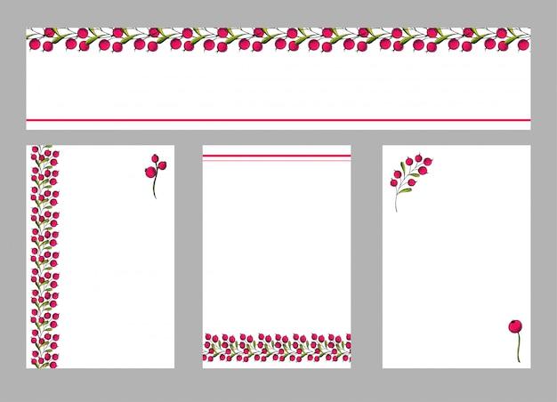 Vector set ansichtkaarten flyers met florale versiering.