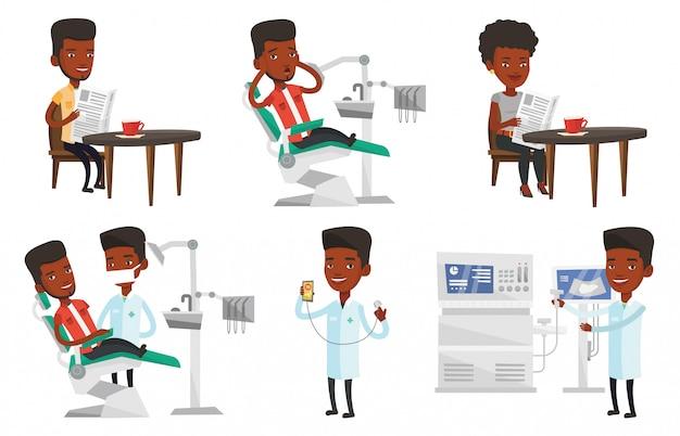 Vector set arts tekens en patiënten.