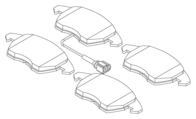 Vector set auto remblokken met sensor voor vervanging - isometrische weergave, contourlijntekeningen