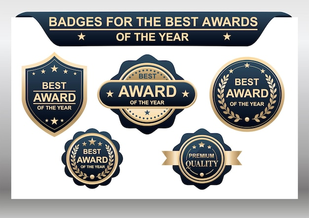 Vector set badges voor de beste prijzen van het jaar