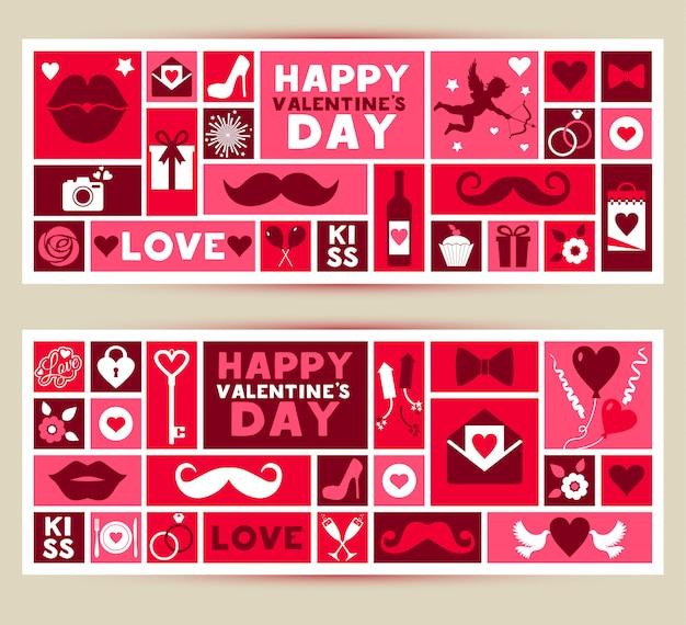 Vector set banners van valentijnsdag