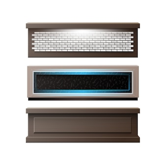 Vector set bar tellers met verschillende decoraties baksteen, hout, achtergrondverlichting vooraanzicht geïsoleerd op een witte achtergrond