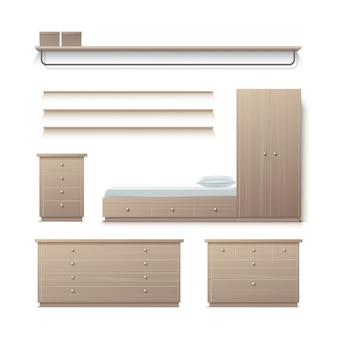Vector set beige kledingkast, kast, nachtkastje, kledingstandaard, rek en kussen vooraanzicht geïsoleerd op de achtergrond