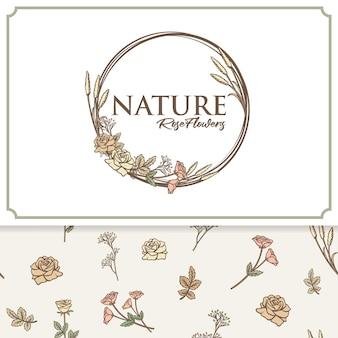 Vector set bloemen logo label en patroon