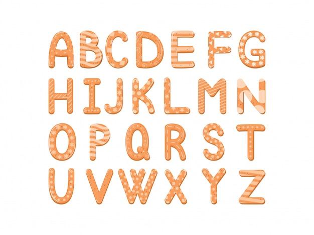 Vector set cartoon alfabet van kerstmis of nieuwjaar