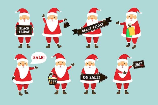 Vector set cartoon geïsoleerd santa claus-karakter met black friday-verkoopthema