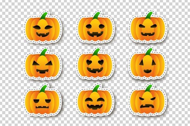 Vector set cartoon geïsoleerde pompoen stickers voor sjabloondecoratie en bekleding