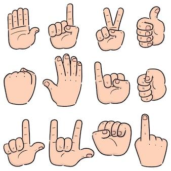 Vector set cartoon hand