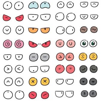 Vector set cartoon ogen